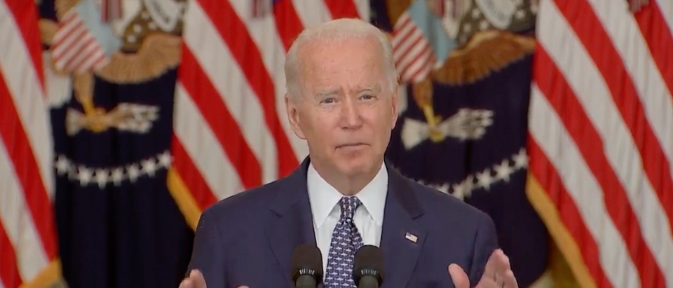 Joe Biden touted the infrastructure bill Tuesday after it passed in the Senate with bipartisan support. (Screenshot President Joe Biden Delivers Remarks On Passage Of Infrastructure Bill, YouTube)