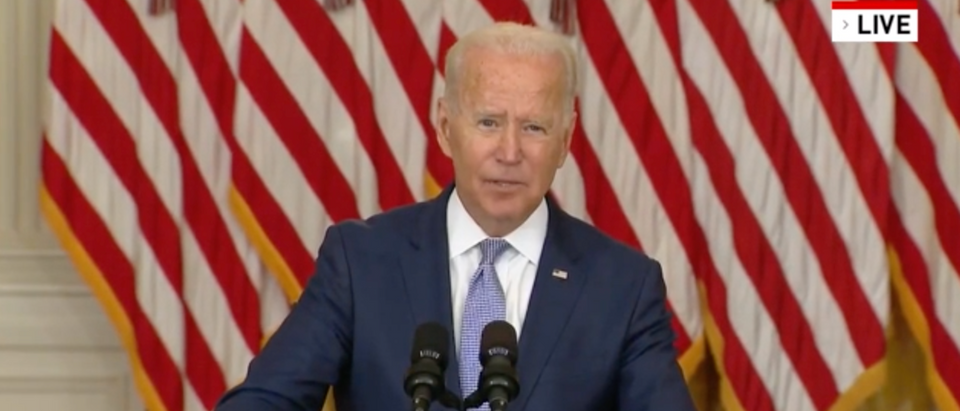 Pres. Joe Biden spoke about the cost of prescription drugs Thursday. (Screenshot WJLA-TV (ABC 7; Washington, D.C.)