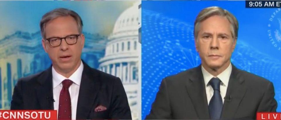 "Jake Tapper and Antony Blinken appear on ""State of the Union."" Screenshot/CNN"
