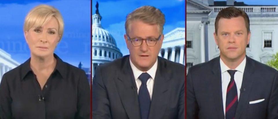 "Mika Brzezinski, Joe Scarborough and Willie Geist appear on ""Morning Joe."" Screenshot/MSNBC"