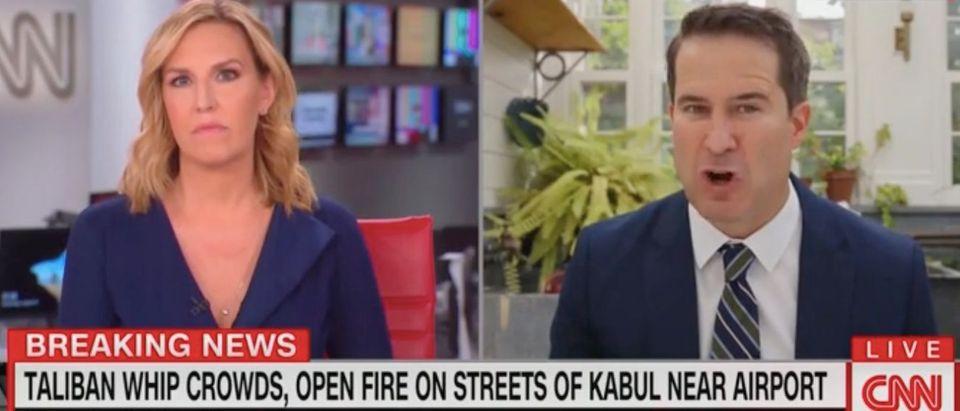 Poppy Harlow speaks with Seth Moulton. Screenshot/CNN