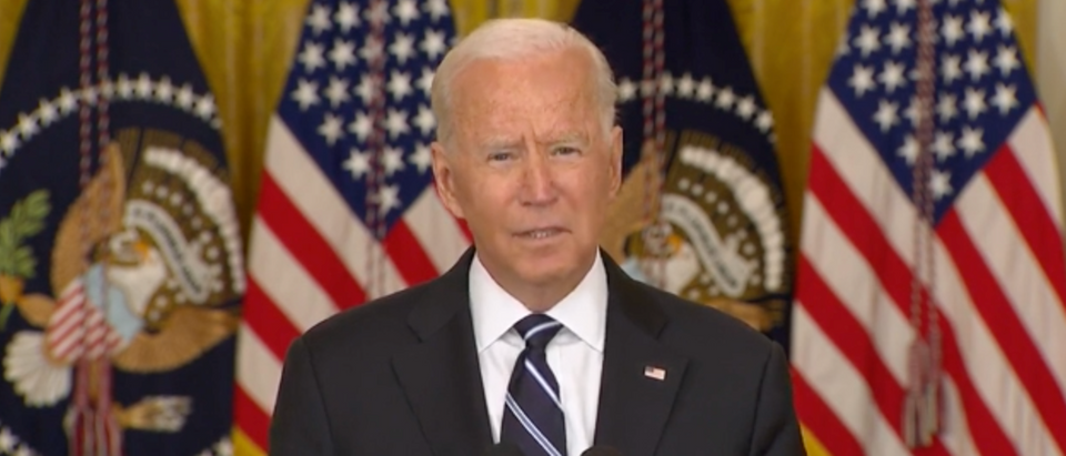 Pres. Biden spoke about COVID-19 initiatives at the White House on Wednesday. (Screenshot YouTube, Biden Coronavirus Remarks)