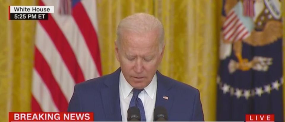 Pres. Joe Biden spoke about the terror attack that killed multiple US service members in Afghanistan on Thursday. (Screenshot CNN)