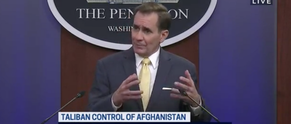 Kirby told reporters the Pentagon can't dispute reports of civilian casualties following a U.S. airstrike in Kabul. (Screenshot C-SPAN, Defense Department Holds Briefing on Afghanistan)