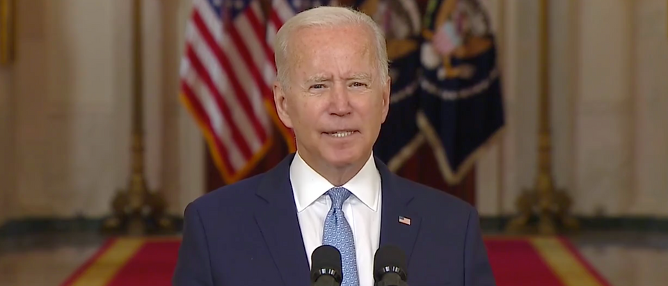 Pres. Joe Biden spoke about the end of the 20 year war in Afghanistan on Tuesday. (Screenshot KTTV-TV (Fox 11; Los Angeles, Calif.)