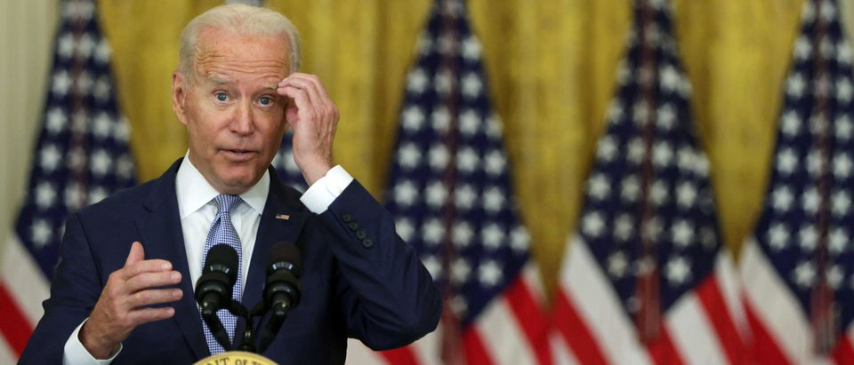 """WASHINGTON, DC - AUGUST 12: U.S. President Joe Biden delivers remarks during an East Room event at the White House August 12, 2021 in Washington, DC. President Biden spoke on """"how his Build Back Better agenda will lower prescription drug prices."""" (Photo by Alex Wong/Getty Images)"""