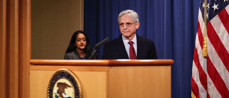 Attorney General Merrick Garland arrives at a news conference to announce that the Department of Justice would be suing the state of Georgia over it's new election laws. (Photo by Anna Moneymaker/Getty Images).