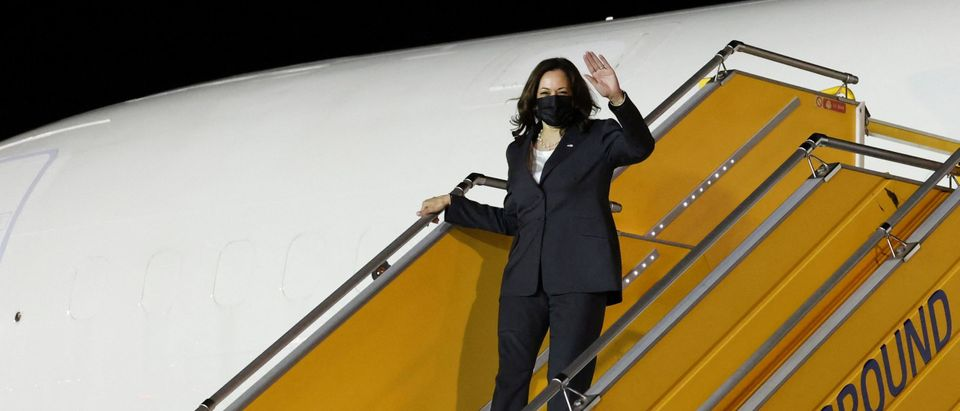 US Vice President Kamala Harris leaves her plane, as she arrives at the airport in Hanoi, Vietnam, on August, 24, 2021. - (Photo by EVELYN HOCKSTEIN/POOL/AFP via Getty Images)