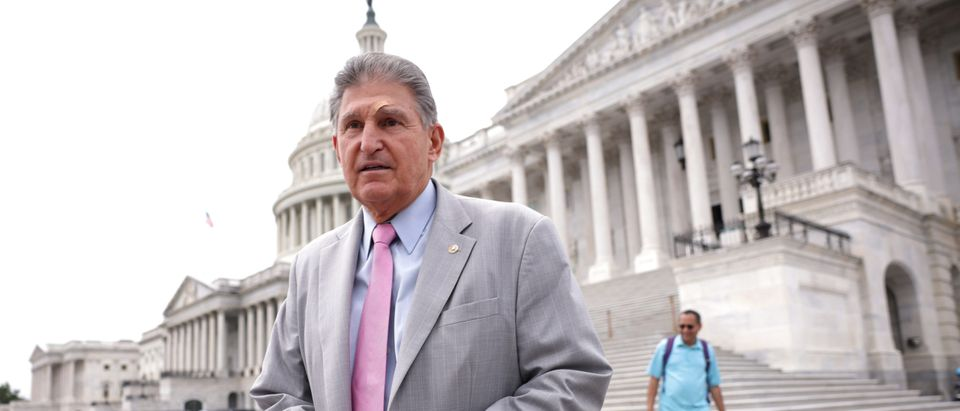 Sen. Joe Manchin leaves the U.S. Capitol following a vote on August 03, 2021 in Washington, DC. (Photo by Kevin Dietsch/Getty Images)