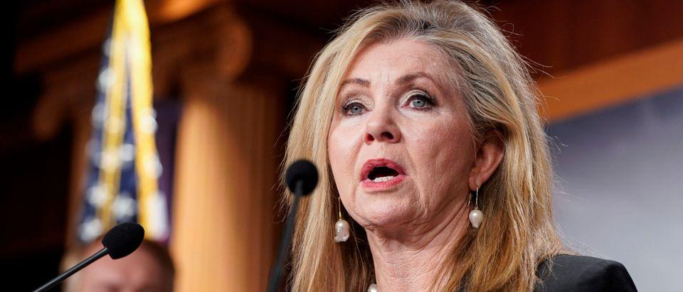 Senator Marsha Blackburn speaks about her opposition. (Photo by Joshua Roberts/Getty Images)