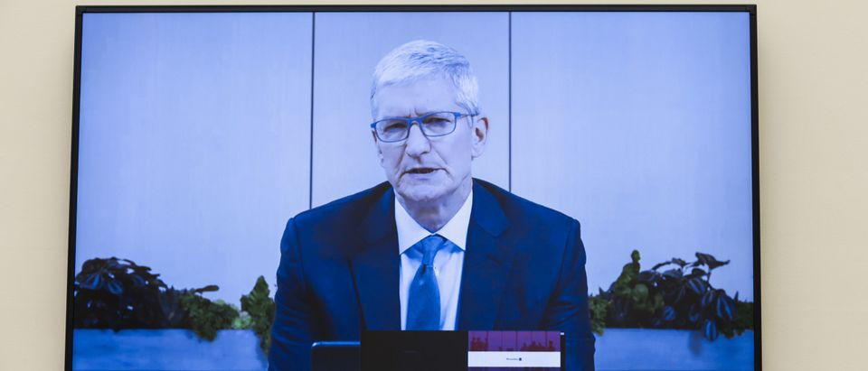 Apple CEO Tim Cook speaks via video conference during the House Judiciary Subcommittee on Antitrust, Commercial and Administrative Law hearing. (Photo by Graeme Jennings-Pool/Getty Images)