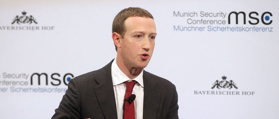 Facebook founder and CEO Mark Zuckerberg speaks during a panel talk at the 2020 Munich Security Conference. (Photo by Johannes Simon/Getty Images)
