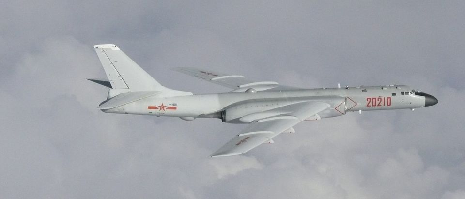 Chinese H-6 bomber flies over East China Sea