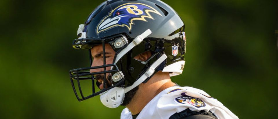 OWINGS MILLS, MD - JULY 28: Alejandro Villanueva #78 of the Baltimore Ravens participates drills during training camp at Under Armour Performance Center Baltimore Ravens on July 28, 2021 in Owings Mills, Maryland. (Photo by Scott Taetsch/Getty Images)