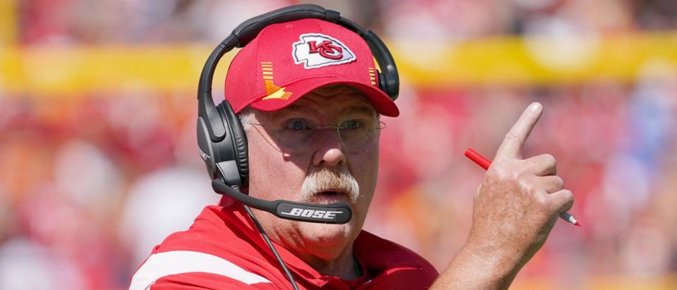 Sep 26, 2021; Kansas City, Missouri, USA; Kansas City Chiefs head coach Andy Reid motions to an official against the Los Angeles Chargers during the first half at GEHA Field at Arrowhead Stadium. Mandatory Credit: Denny Medley-USA TODAY Sports via Reuters
