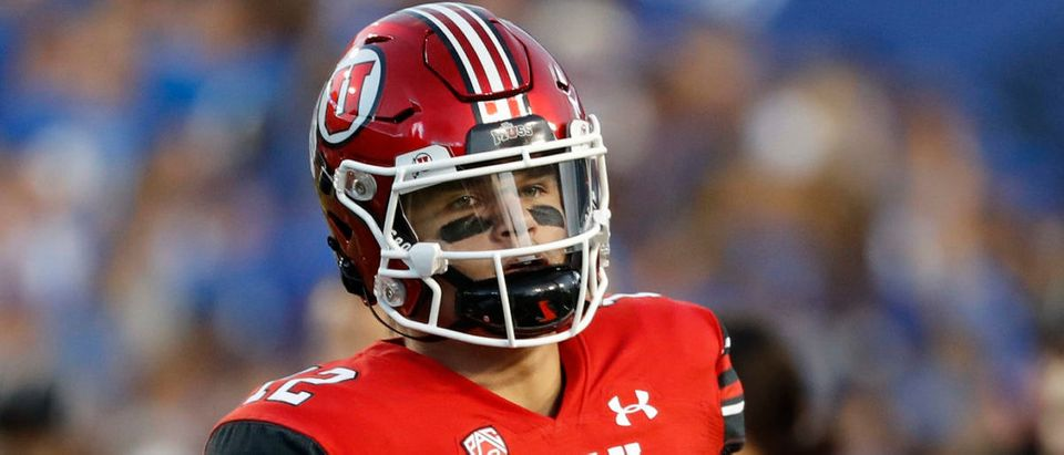 Sep 11, 2021; Provo, Utah, USA; Utah Utes quarterback Charlie Brewer (12) prepares for their game against the Brigham Young Cougars at LaVell Edwards Stadium. Mandatory Credit: Jeffrey Swinger-USA TODAY Sports via Reuters