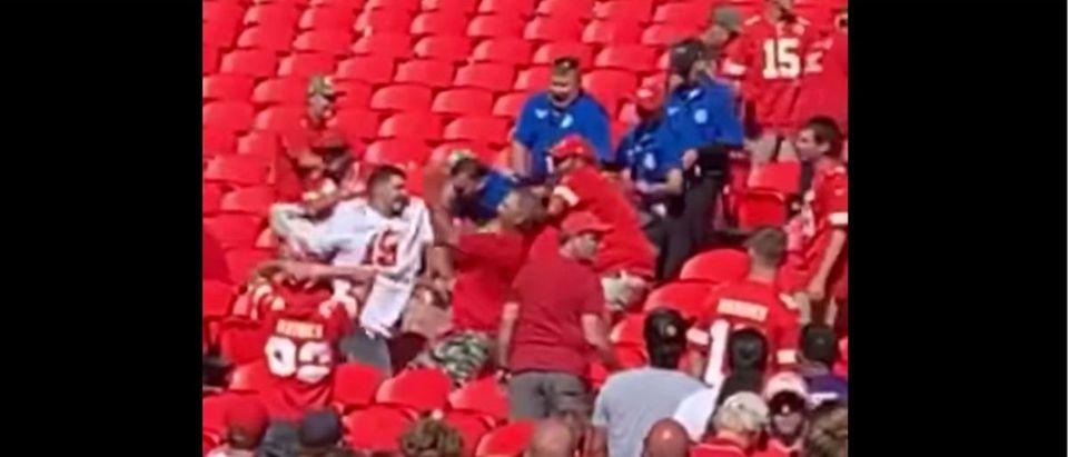 Chiefs Brawl (Credit: Screenshot/Twitter Video https://www.facebook.com/100000097419769/videos/349706026836040/)