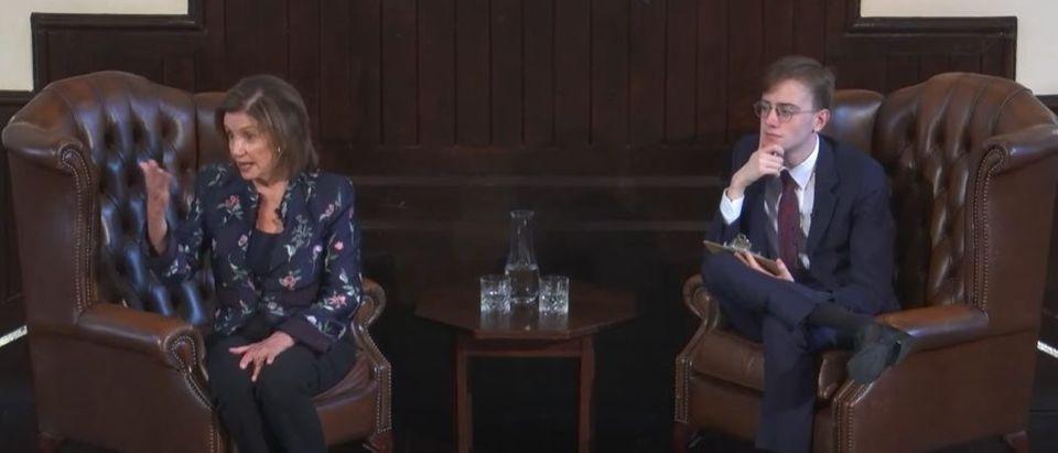 D-CA Nancy Pelosi speaks Thursday at Cambridge Union regarding climate change [Youtube Screenshot Cambridge Union]