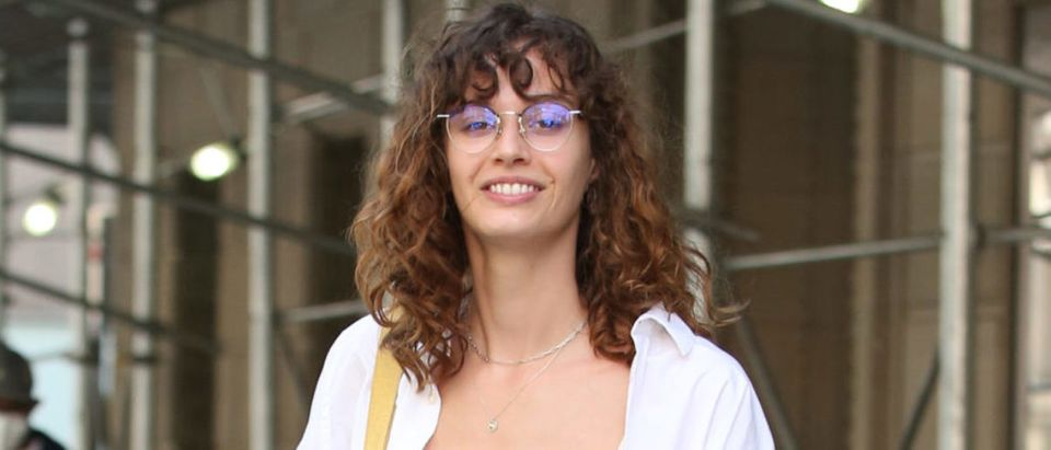 Kamala Harris' Stepdaughter Ella Emhoff Poses In Her Bra And Black Jeans Outside Christian Siriano Fashion Show In New York City