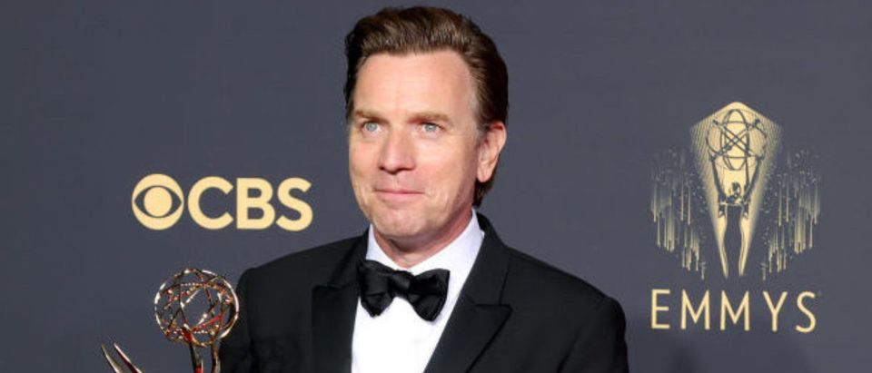 LOS ANGELES, CALIFORNIA - SEPTEMBER 19: Ewan McGregor, winner of Outstanding Lead Actor in a Limited Series or Movie for 'Halston,' poses in the press room during the 73rd Primetime Emmy Awards at L.A. LIVE on September 19, 2021 in Los Angeles, California. (Photo by Rich Fury/Getty Images)