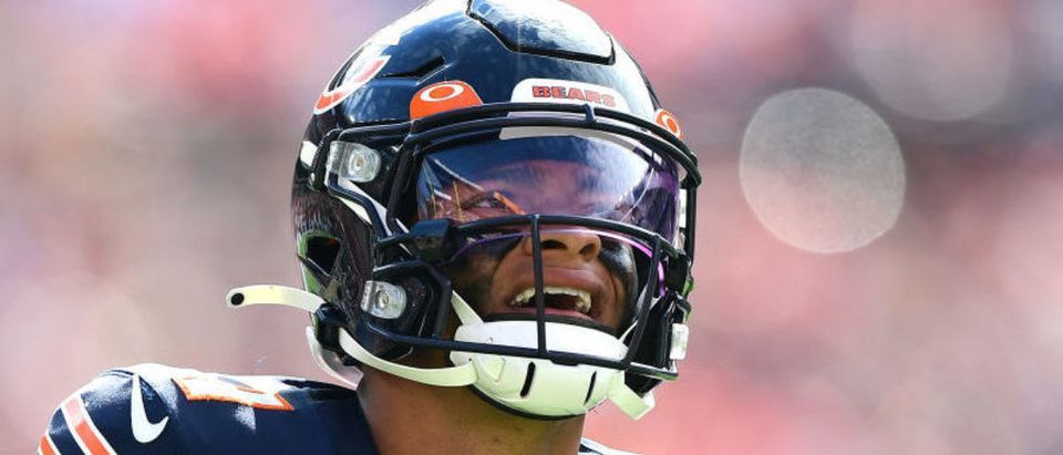 CLEVELAND, OHIO - SEPTEMBER 26: Justin Fields #1 of the Chicago Bears during the second half in the game against the Cleveland Browns at FirstEnergy Stadium on September 26, 2021 in Cleveland, Ohio. (Photo by Emilee Chinn/Getty Images)