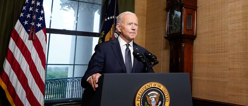 WASHINGTON, DC - APRIL 14: U.S. President Joe Biden speaks from the Treaty Room in the White House about the withdrawal of U.S. troops from Afghanistan on April 14, 2021 in Washington, DC. President Biden announced his plans to pull all remaining U.S. troops out of Afghanistan by September 11, 2021 in a final step towards ending America's longest war. (Photo by Andrew Harnik-Pool/Getty Images)