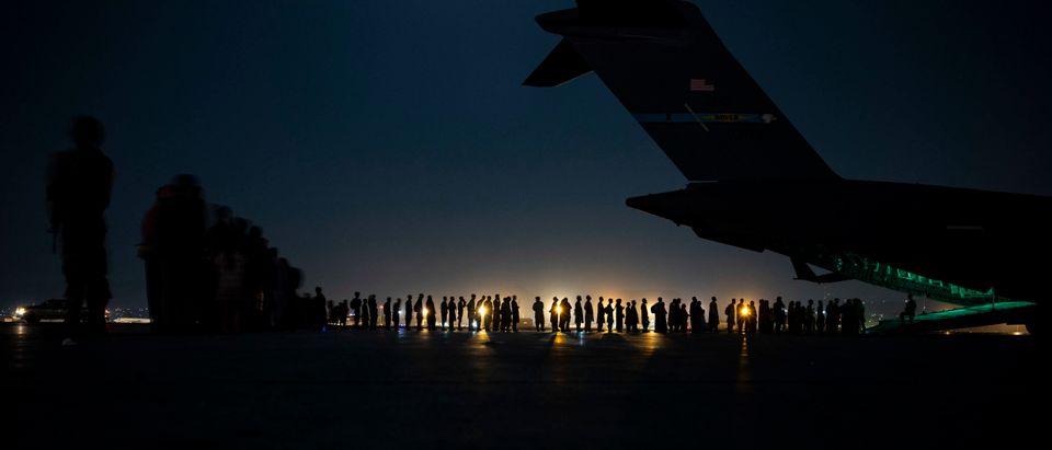 Hamid Karzai International Airport in KabulEvacuated