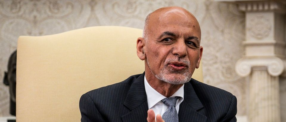 WASHINGTON, DC - JUNE 25: Afghanistan President Ashraf Ghani makes brief remarks during a meeting with U.S. President Joe Biden and Dr. Abdullah Abdullah, Chairman of the High Council for National Reconciliation, in the Oval Office at the White House June 25, 2021 in Washington, DC. Biden announced in April that he was pulling all U.S. forces from Afghanistan and ending America's longest war by September 11. (Photo by Pete Marovich-Pool/Getty Images)