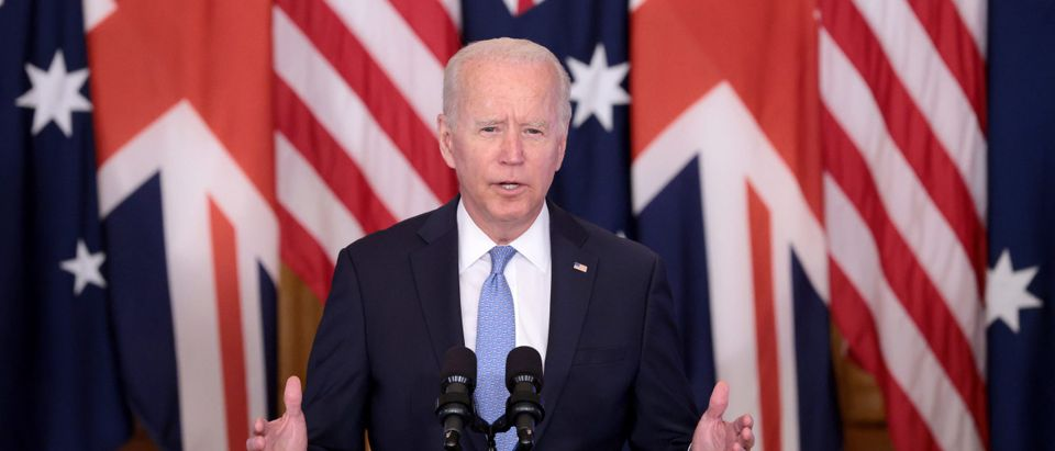 WASHINGTON, DC - SEPTEMBER 15: U.S. President Joe Biden speaks during an event in the East Room of the White House September 15, 2021 in Washington, DC. President Biden delivered his remarks to highlight a new national security initiative in partnership with Australia and the United Kingdom. (Photo by Win McNamee/Getty Images)
