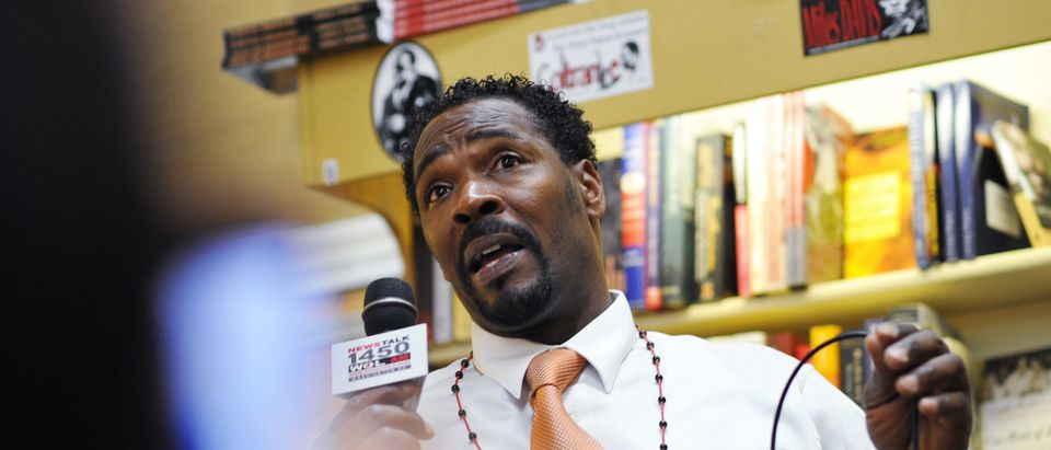 Rodney King speaks during the presentati