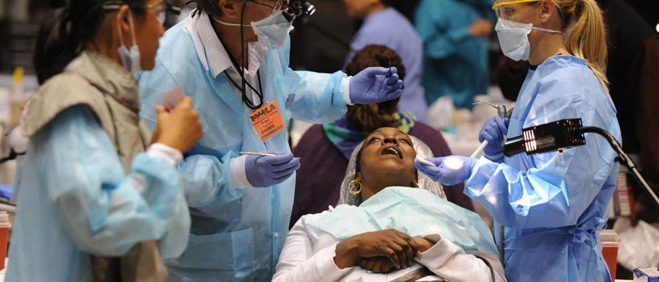 Volunteer medical staff offer free medic