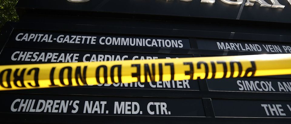 ANNAPOLIS, MD - JUNE 29: Police tape surrounds the entrance to 888 Bestgate Dr. where 5 people were shot and killed at the Capital Gazette headquarters, on June 29, 2018 in Annapolis, Maryland. Jarrod Ramos of Laurel Md. Has been arrested and charged with killing 5 people at the daily newspaper. (Photo by Mark Wilson/Getty Images)
