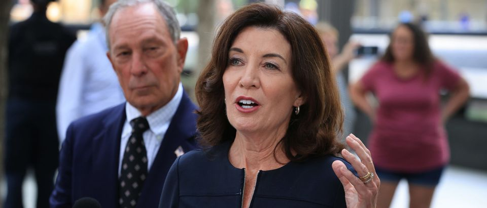 NY Governor Hochul And Former Mayor Bloomberg Pays Their Respects At 9/11 Memorial
