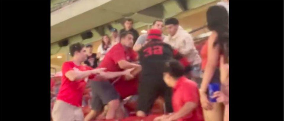 Houston, Texas Tech Fight (Credit: Screenshot/Twitter Video https://twitter.com/atxhobogrl/status/1434349121947766785)