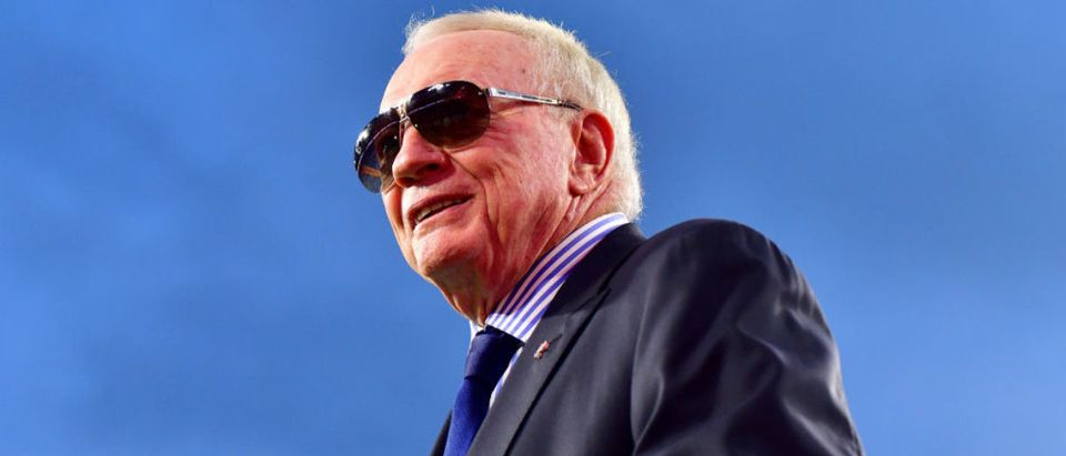 TAMPA, FLORIDA - SEPTEMBER 09: Owner Jerry Jones of the Dallas Cowboys looks on before the game against the Tampa Bay Buccaneers at Raymond James Stadium on September 09, 2021 in Tampa, Florida. (Photo by Julio Aguilar/Getty Images)