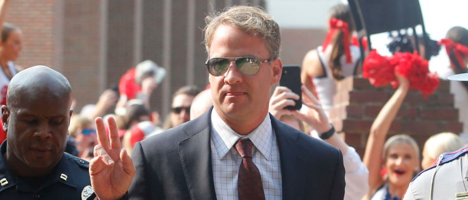 Sep 11, 2021; Oxford, Mississippi, USA; Mississippi Rebels head coach Lane Kiffin makes his way down the walk of champions before their game against the Austin Peay Governors at Vaught-Hemingway Stadium. Mandatory Credit: Petre Thomas-USA TODAY Sports via Reuters