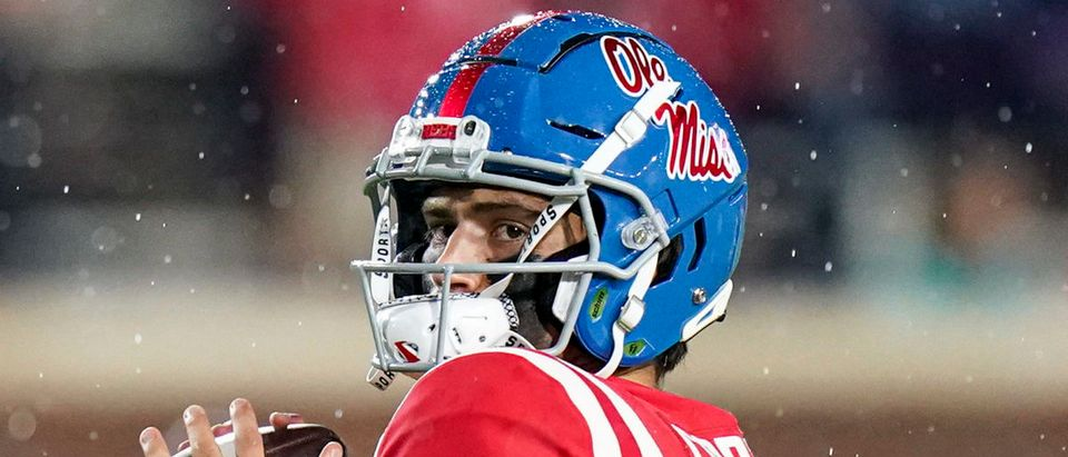 Sep 18, 2021; Oxford, Mississippi, USA; Mississippi Rebels quarterback Matt Corral (2) warms up prior to the game against Tulane Green Wave at Vaught-Hemingway Stadium. Mandatory Credit: Marvin Gentry-USA TODAY Sports via Reuters