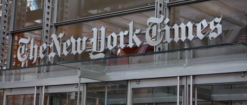 The sign over the west entrance of the New York Times building at 620 Eighth Ave. April 28, 2016 in New York. (Photo by Don EMMERT / AFP) (Photo by DON EMMERT/AFP via Getty Images)