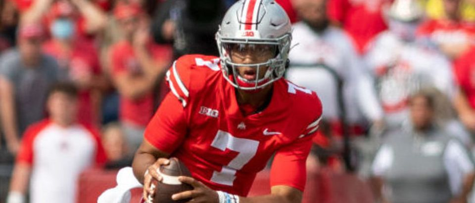 COLUMBUS, OH - SEPTEMBER 11: Quarterback C.J. Stroud #7 of the Ohio State Buckeyes runs the ball during the fourth quarter against the Oregon Ducks at Ohio Stadium on September 11, 2021 in Columbus, Ohio. (Photo by Gaelen Morse/Getty Images)