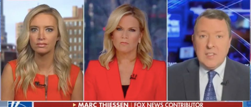 "Kayleigh McEnany, Martha MacCallum and Marc Thiessen appear on ""The Story."" Screenshot/Fox News"