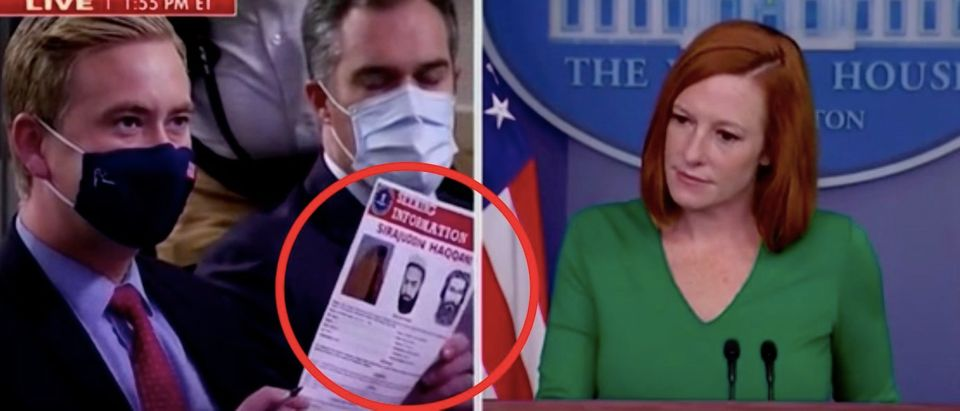 Peter Doocy questions Jen Psaki. Screenshot/Fox News