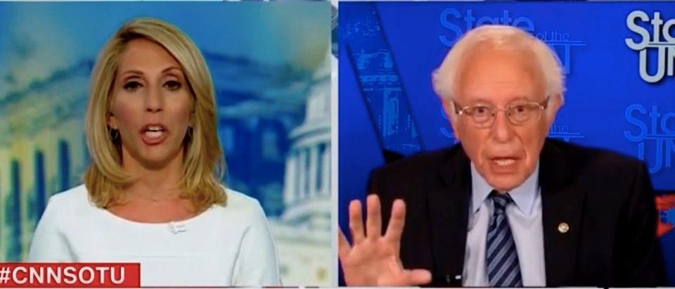 "Dana Bash and Bernie Sanders appear on ""State of the Union."" Screenshot/CNN"
