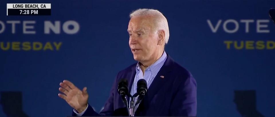 Pres. Joe Biden spoke in favor of Gavin Newsom ahead of the recall vote in California on Monday. (Screenshot MSNBC)