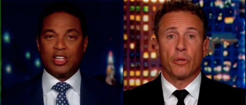 "Don Lemon and Chris Cuomo appear on ""Don Lemon Tonight."" Screenshot/CNN"