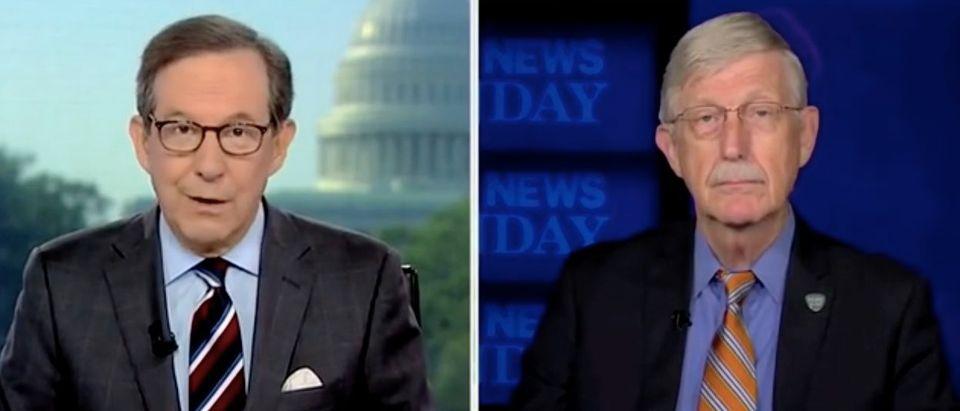 "Chris Wallace speaks to NIH Director Francis Collins on ""Fox News Sunday."" Screenshot/FOX"