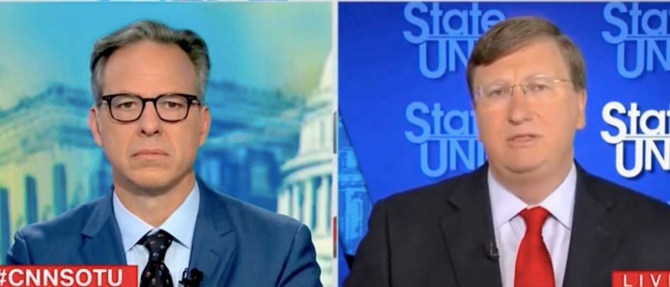 """Jake Tapper and Tate Reeves appear on """"State of the Union."""" Screenshot/CNN"""