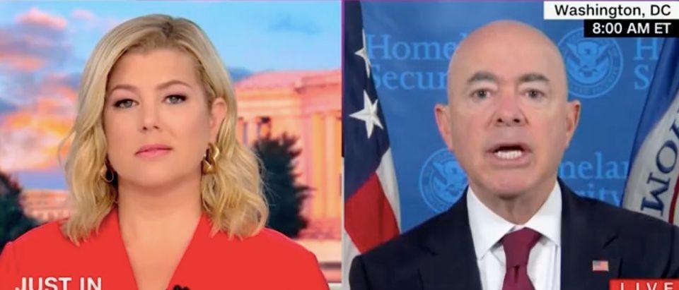 "Brianna Keilar and DHS Sec. Mayorkas appear on ""New Day."" Screenshot/CNN"