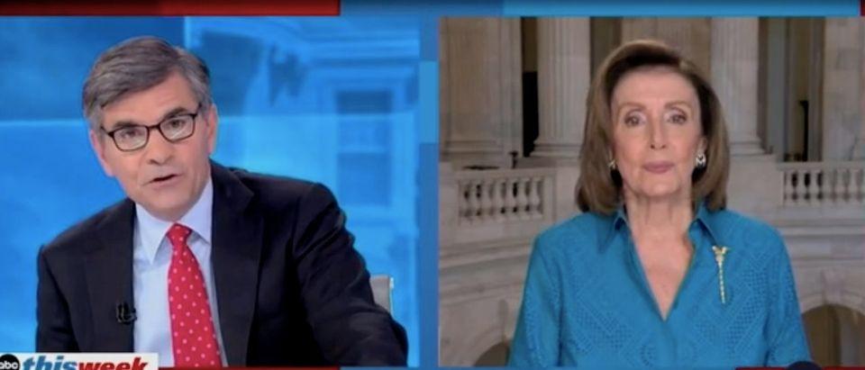 George Stephanopoulos speaks with Nancy Pelosi. Screenshot/ABC