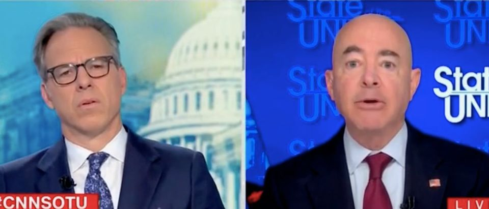 """Jake Tapper speaks with Alejandro Mayorkas on """"State of the Union."""" Screenshot/CNN"""