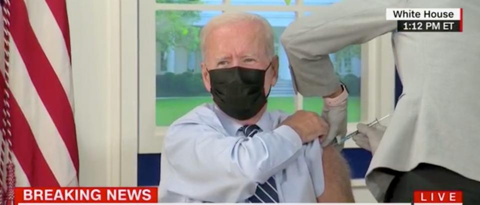 President Joe Biden received his booster shot on Monday. (Screenshot CNN)